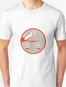 Hand Holding Weighing Scales Circle Retro T-Shirt