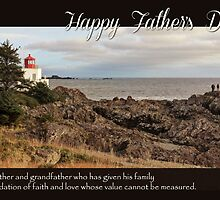 Father's Day Lighthouse - Religious Greeting Card for Grandfather by Tracy Friesen
