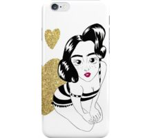 pin up girly in gold iPhone Case/Skin