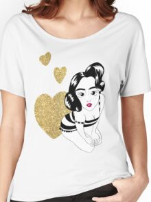 pin up girly in gold Women's Relaxed Fit T-Shirt