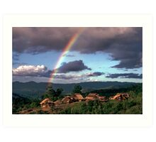 Village and rainbow Art Print