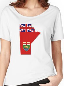 Manitoba Flag Map  Women's Relaxed Fit T-Shirt