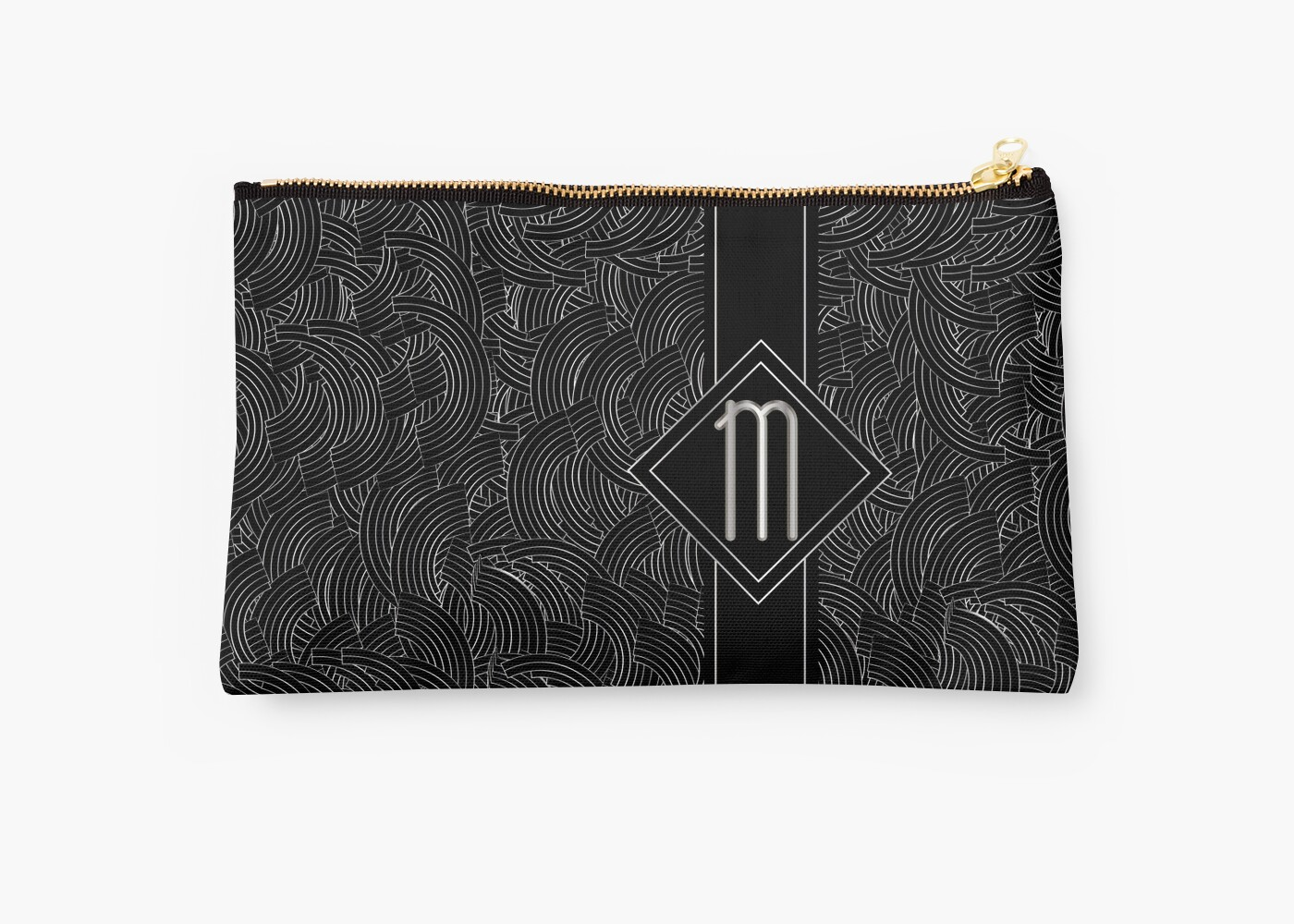 1920s Jazz Deco Swing Monogram black & silver letter M by CecelyBloom
