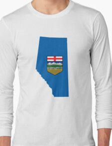 Alberta Flag Map Long Sleeve T-Shirt