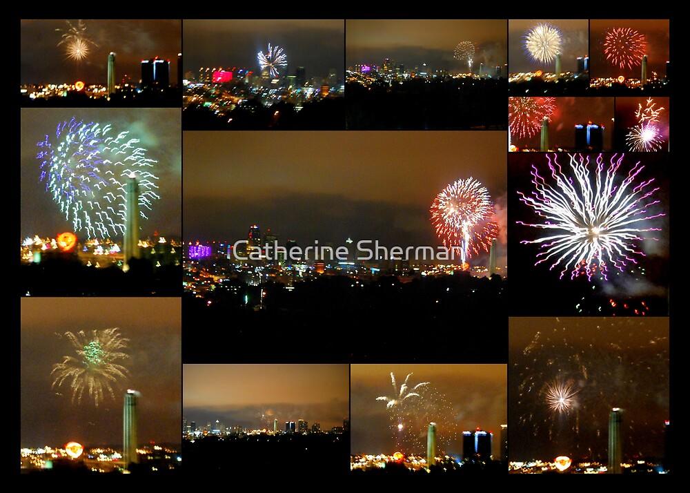 Collage of Fireworks over Kansas City, Missouri, Skyline by Catherine Sherman