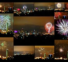 Collage of Fireworks over Kansas City, Missouri, Skyline by Catherine Sherman
