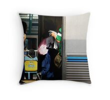 School student in the train Throw Pillow