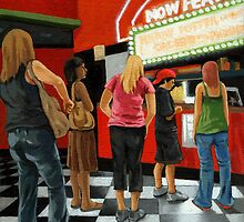 At the Movies - people painting by LindaAppleArt