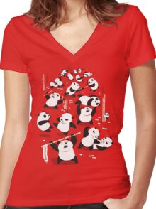 PANDAMONIUM Women's Fitted V-Neck T-Shirt