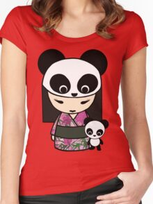 Kokeshi Doll with Panda Women's Fitted Scoop T-Shirt