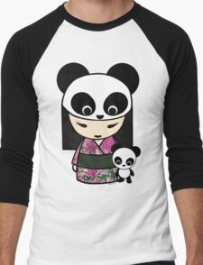 Kokeshi Doll with Panda Men's Baseball ¾ T-Shirt
