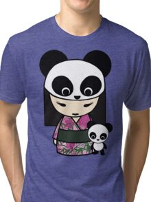 Kokeshi Doll with Panda Tri-blend T-Shirt