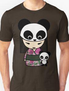 Kokeshi Doll with Panda Unisex T-Shirt