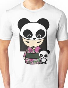 Kokeshi Doll with Panda Unisex T-Shirt