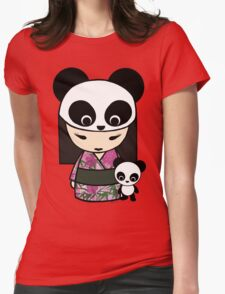 Kokeshi Doll with Panda Womens Fitted T-Shirt