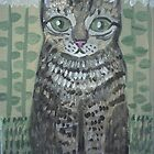 Tabby Cat & Sunflowers by sharonkfolkart