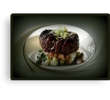 BEEF TENDERLOIN WITH POTATOES,CAULIFLOWER AND ASPARAGUS--wine,brandy ,ect.. seasons the accompanying gravy. garnished with onions..PICTURE,PILLOW,TOTE BAG,CARD,ECT. Canvas Print