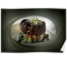 BEEF TENDERLOIN WITH POTATOES,CAULIFLOWER AND ASPARAGUS--wine,brandy ,ect.. seasons the accompanying gravy. garnished with onions..PICTURE,PILLOW,TOTE BAG,CARD,ECT. Poster