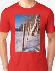 Rural winter scene Unisex T-Shirt