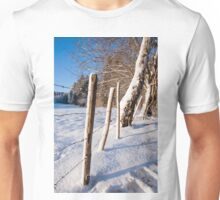 Rural winter scene Unisex T-Shirt