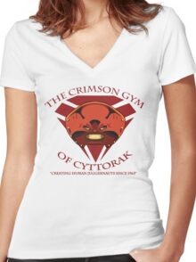 The Crimson Gym of Cyttorak Women's Fitted V-Neck T-Shirt
