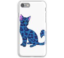 Blue spotty cat looking cute iPhone Case/Skin