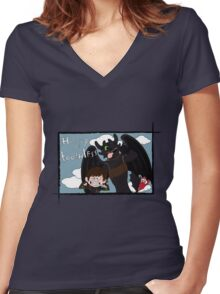 HICCUP & TOOTHLESS Women's Fitted V-Neck T-Shirt