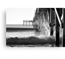 Crashing Waves At Pier B&W Canvas Print