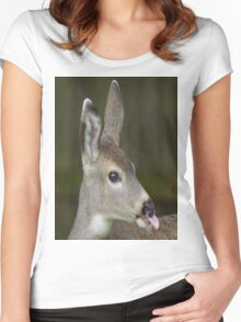 Deer Sticks Tounge Out Women's Fitted Scoop T-Shirt