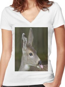 Deer Sticks Tounge Out Women's Fitted V-Neck T-Shirt