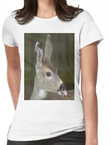Deer Sticks Tounge Out Womens Fitted T-Shirt