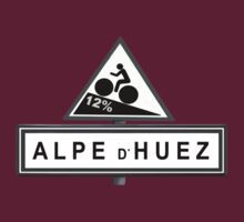 Alpe D'huez Cycling Road Sign Black and White by movieshirtguy