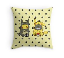 Totoro and Pikachu Onesies Throw Pillow