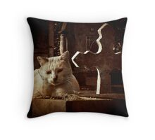 the cat and the cross Throw Pillow