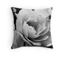 White rose in monochrome Throw Pillow