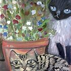 Two Cats & Sweet Peas by sharonkfolkart