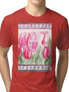 SOFT SHADES OF PINK - ADORABLE PINK TULIPS Tri-blend T-Shirt