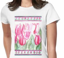 SOFT SHADES OF PINK - ADORABLE PINK TULIPS Womens Fitted T-Shirt