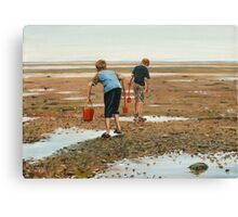 Hunting for Crabs Canvas Print