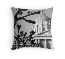 City hall nobbled trees cold sky Throw Pillow