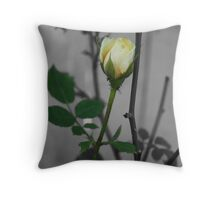Yellow rose with black and white backround Throw Pillow