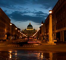St. Peters by night Rome Italy by Brianne  Ippolito