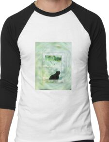 Black Cat Looking out a Window Impression T-Shirt