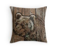 Rustic wooden burned brown bear Throw Pillow