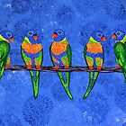 Rainbow Lorikeets by Lisa Frances Judd~QuirkyHappyArt