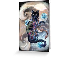 Black Cat Gecko Greeting Card