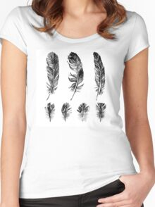 hand drawn feathers design Women's Fitted Scoop T-Shirt
