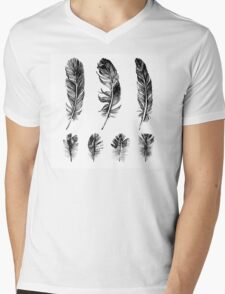 hand drawn feathers design Mens V-Neck T-Shirt