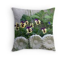 Lovely framed Flowerbed Throw Pillow