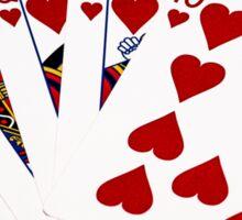 Poker Hands - Royal Flush Hearts Suit Sticker